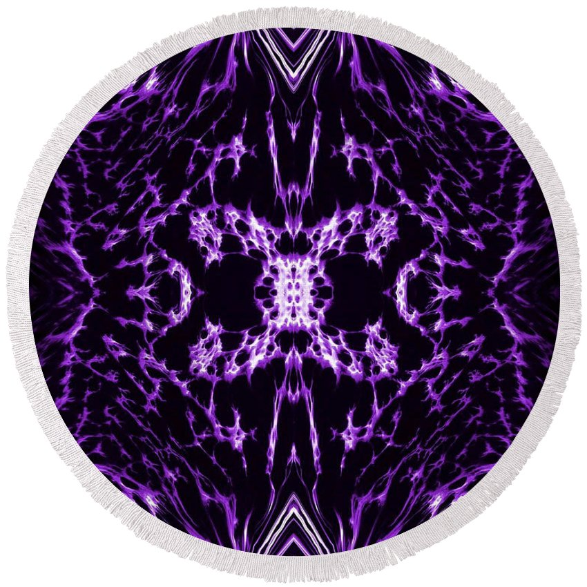 Original Round Beach Towel featuring the painting Purple Series 2 by J D Owen