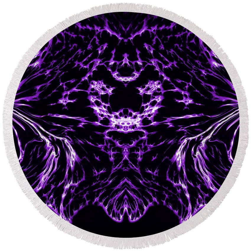 Original Round Beach Towel featuring the painting Purple Series 8 by J D Owen