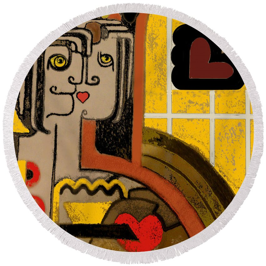 Art Deco Round Beach Towel featuring the digital art Queen Of Hearts Of Egypt by Carol Jacobs