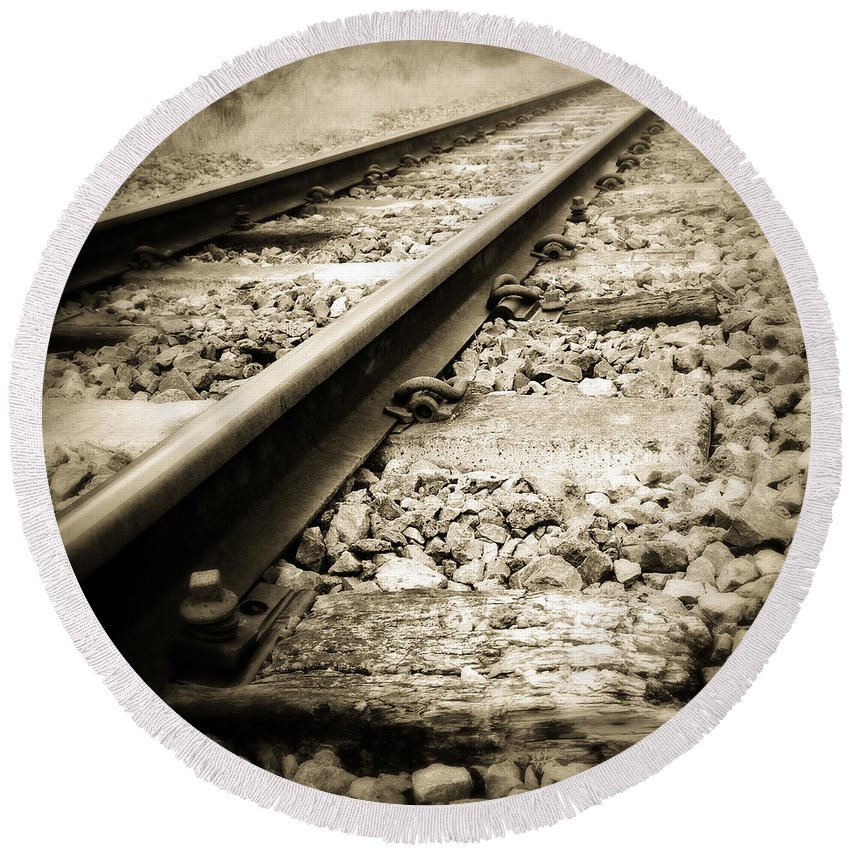 Industry Round Beach Towel featuring the photograph Railway Tracks by Les Cunliffe