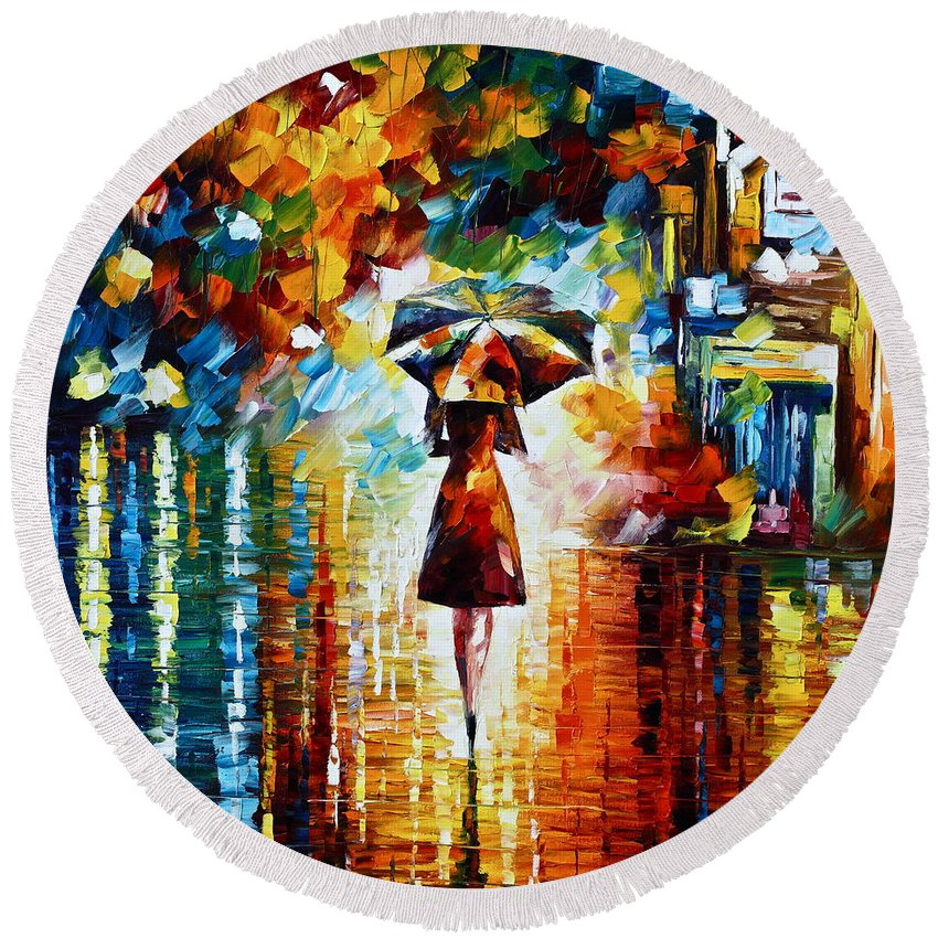 Rain Round Beach Towel featuring the painting Rain Princess - Palette Knife Landscape Oil Painting On Canvas By Leonid Afremov by Leonid Afremov