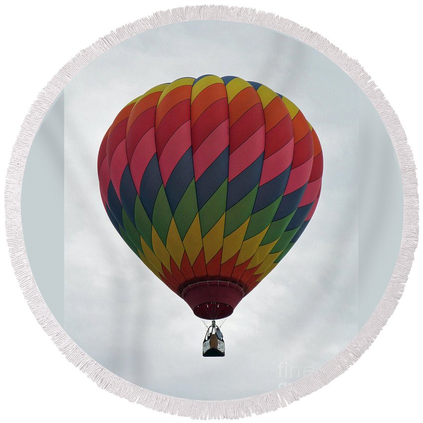 Hot Air Balloons Round Beach Towel featuring the photograph Rainbow Balloon by Jamie Smith
