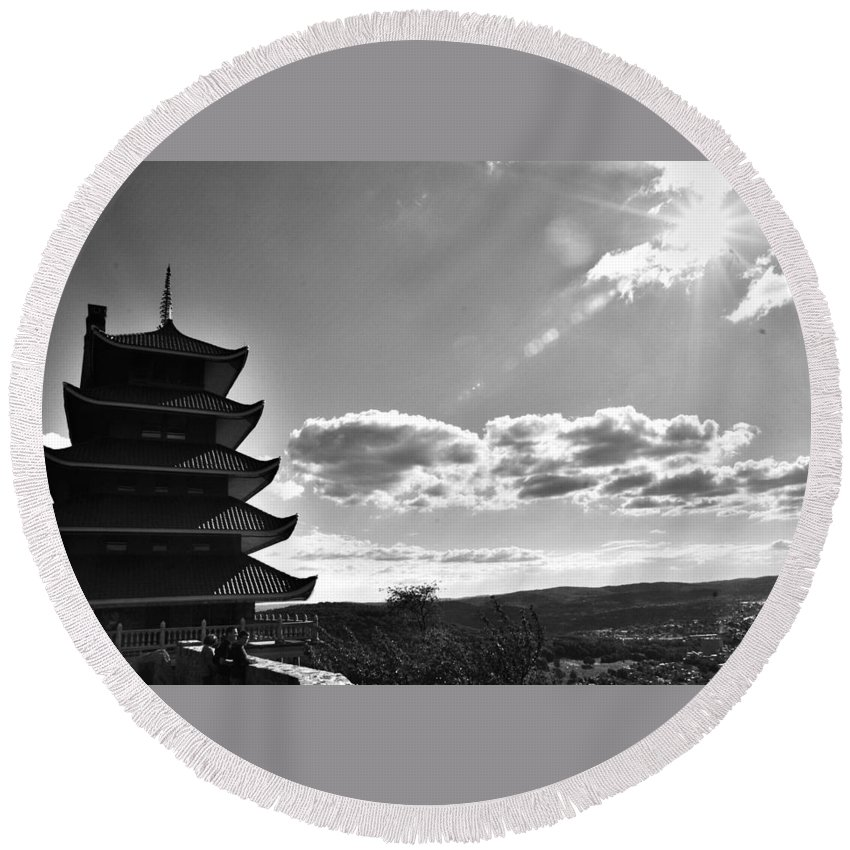 Round Beach Towel featuring the photograph Reading Pagoda by Matt Zerbe
