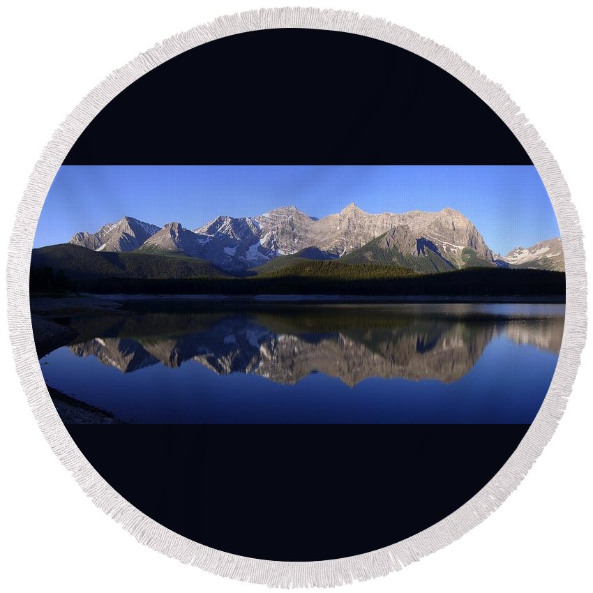 Mountain Round Beach Towel featuring the photograph Reflected Upper Lakes Calm - Kananaskis, Alberta by Ian Mcadie