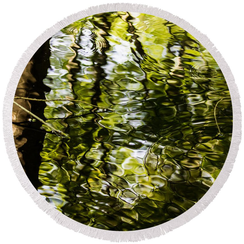 Trees Round Beach Towel featuring the photograph Reflections by Gaurav Singh