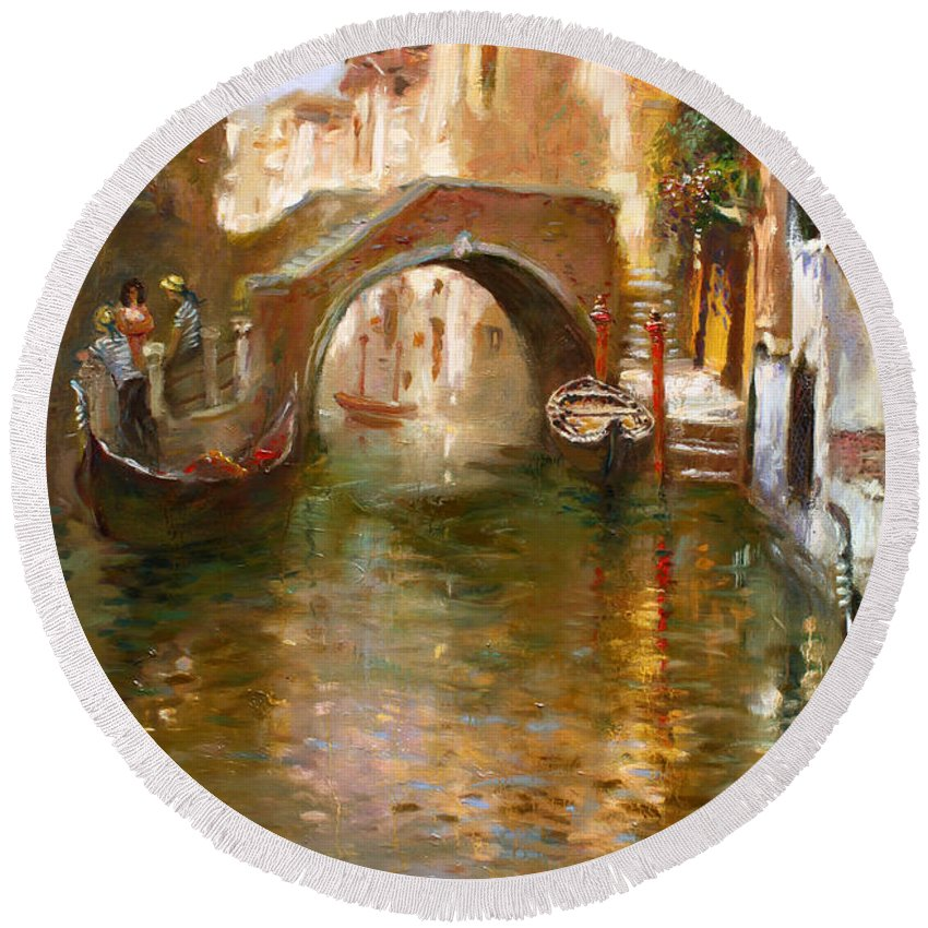 Romance Round Beach Towel featuring the painting Romance In Venice by Ylli Haruni