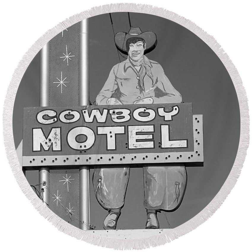 66 Round Beach Towel featuring the photograph Route 66 - Cowboy Motel by Frank Romeo