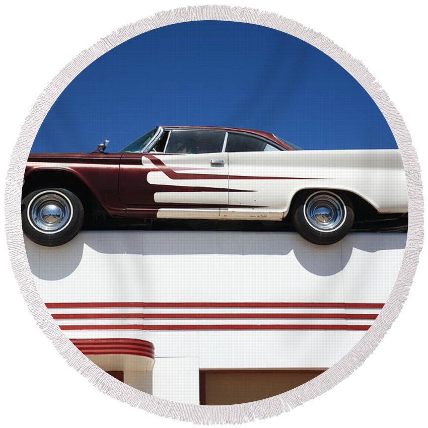 66 Round Beach Towel featuring the photograph Route 66 - Desoto's Salon by Frank Romeo