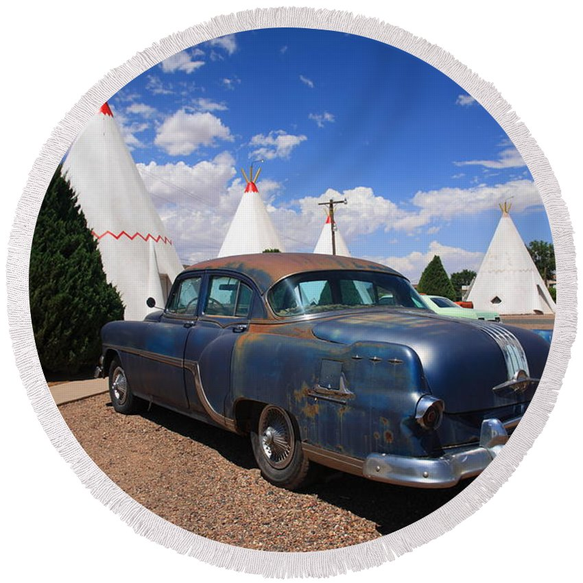 66 Round Beach Towel featuring the photograph Route 66 Wigwam Motel And Classic Car by Frank Romeo