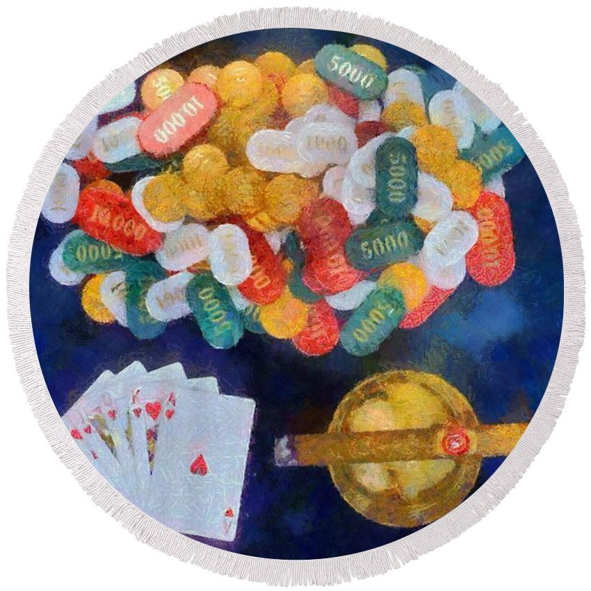 Still Life Round Beach Towel featuring the painting Royal Flush by George Atsametakis