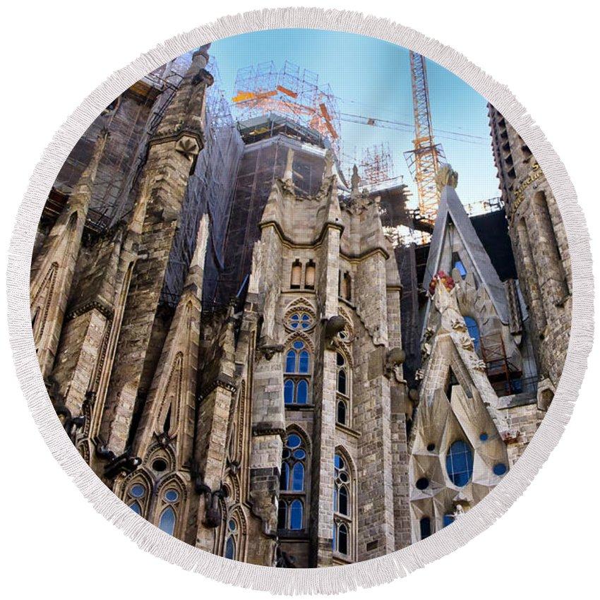 Sagrada Familia Round Beach Towel featuring the photograph Sagrada Familia - Gaudi by Jon Berghoff