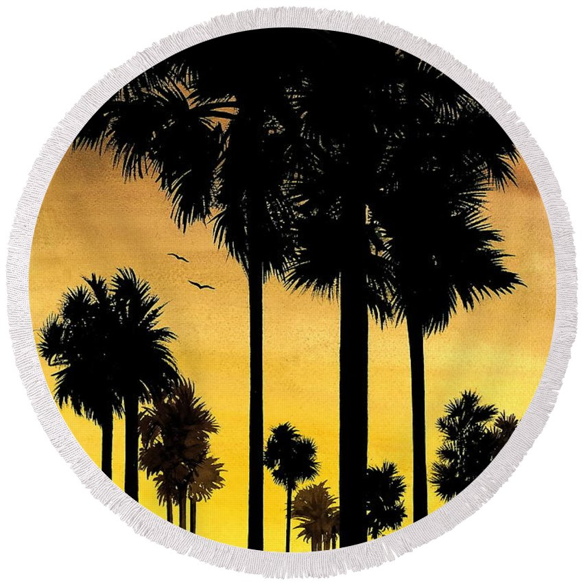 San Diego Sunset Round Beach Towel featuring the painting San Diego Sunset by Larry Lehman