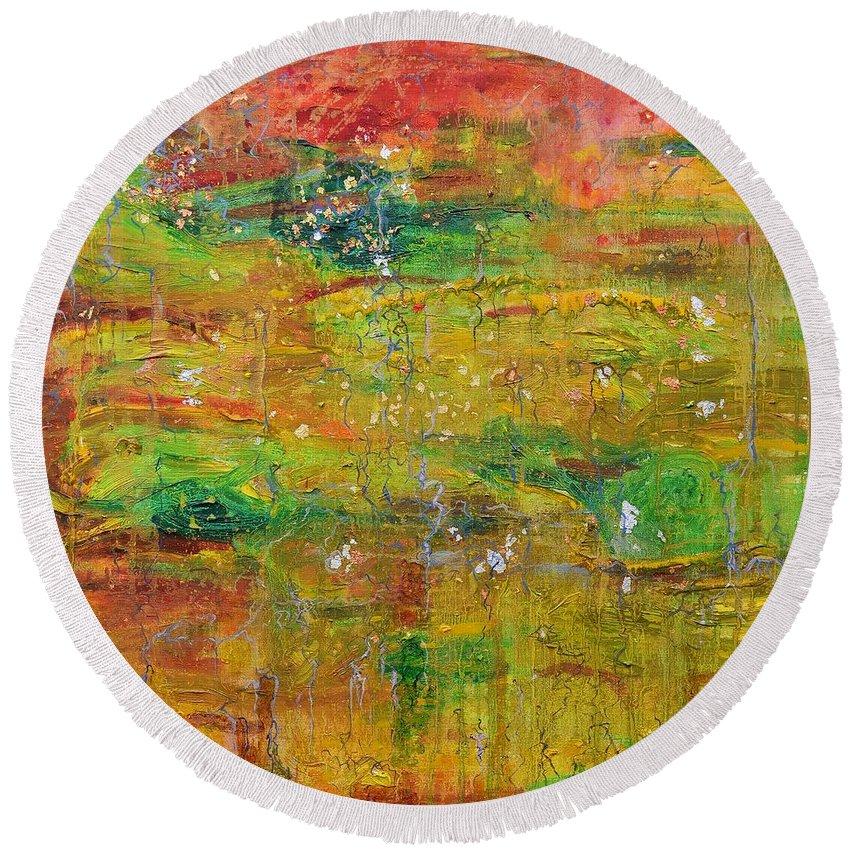Leaf Round Beach Towel featuring the painting Seasonal Ecology by Regina Valluzzi