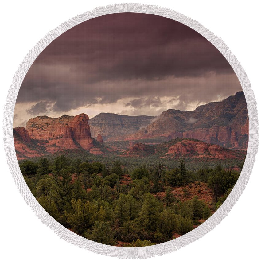 Sedona Round Beach Towel featuring the photograph Sedona Red Rocks by Saija Lehtonen