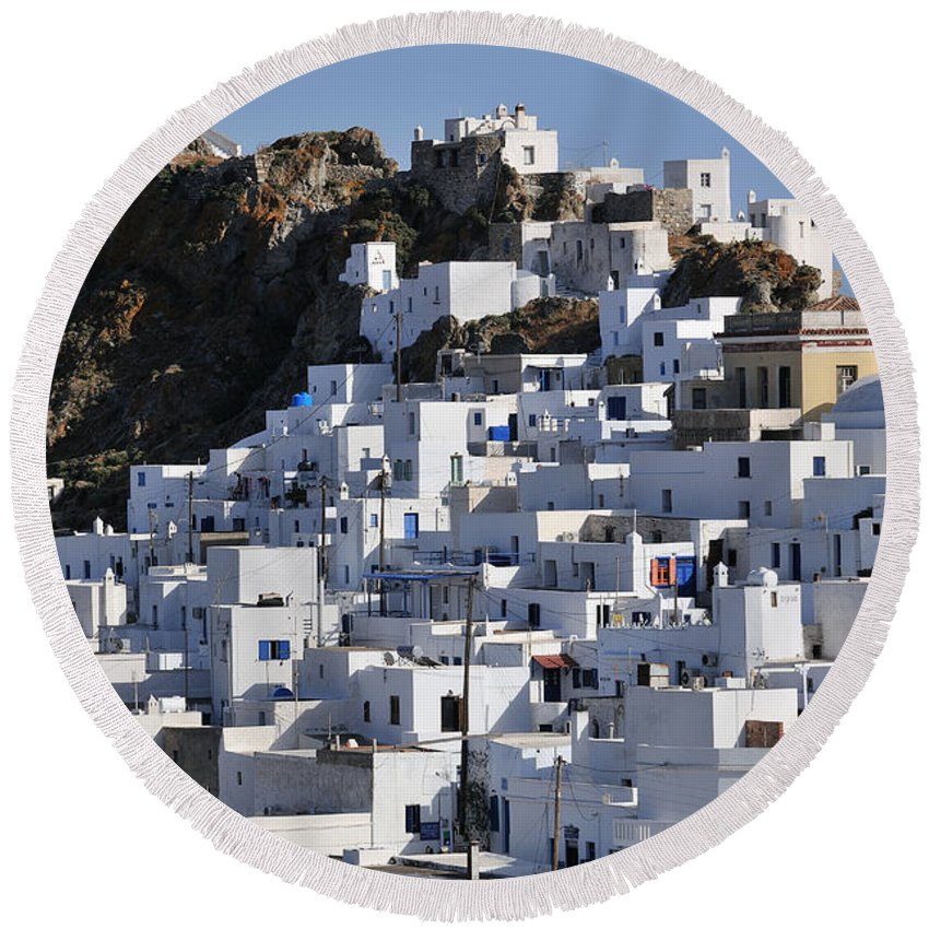 Serifos; Chora; Hora; City; Town; Greece; Greek; Hellas; Cyclades; Island; Kyklades; Aegean; Islands; Afternoon Light; Holidays; Vacation; Travel; Trip; Voyage; Journey; Tourism; Touristic; Summer; Blue Sky; White; Houses; Hill; Top Round Beach Towel featuring the photograph Serifos Town by George Atsametakis