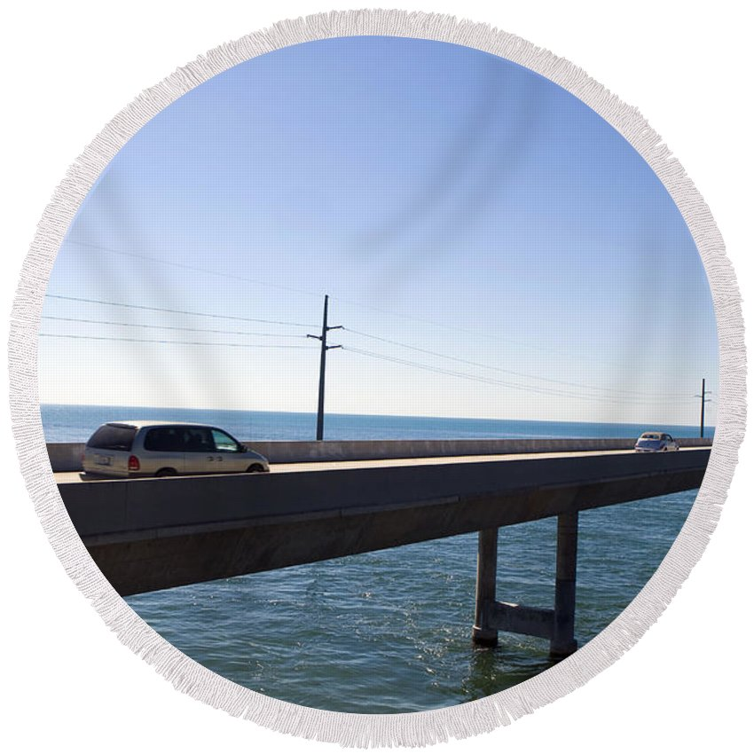 Seven Mile Bridge Round Beach Towel featuring the photograph Seven Mile Bridge Florida Keys by Jason O Watson