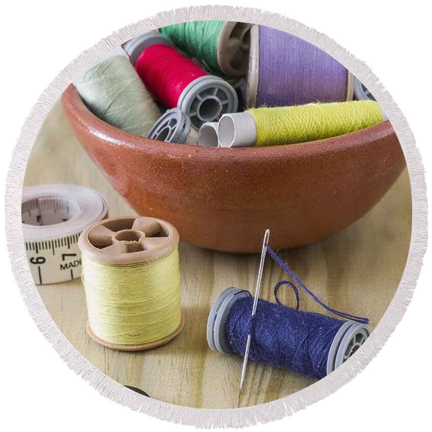 Sewing Round Beach Towel featuring the photograph Sewing Supplies by Paulo Goncalves