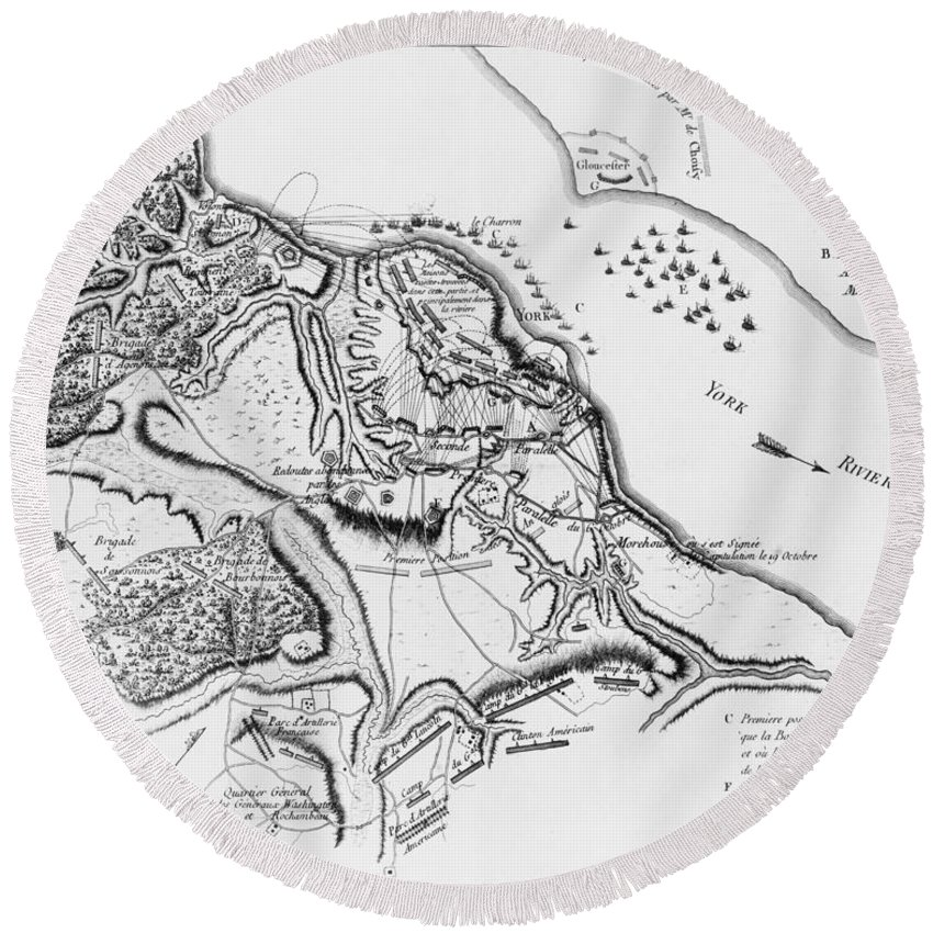 1781 Round Beach Towel featuring the photograph Siege Of Yorktown, 1781 by Granger