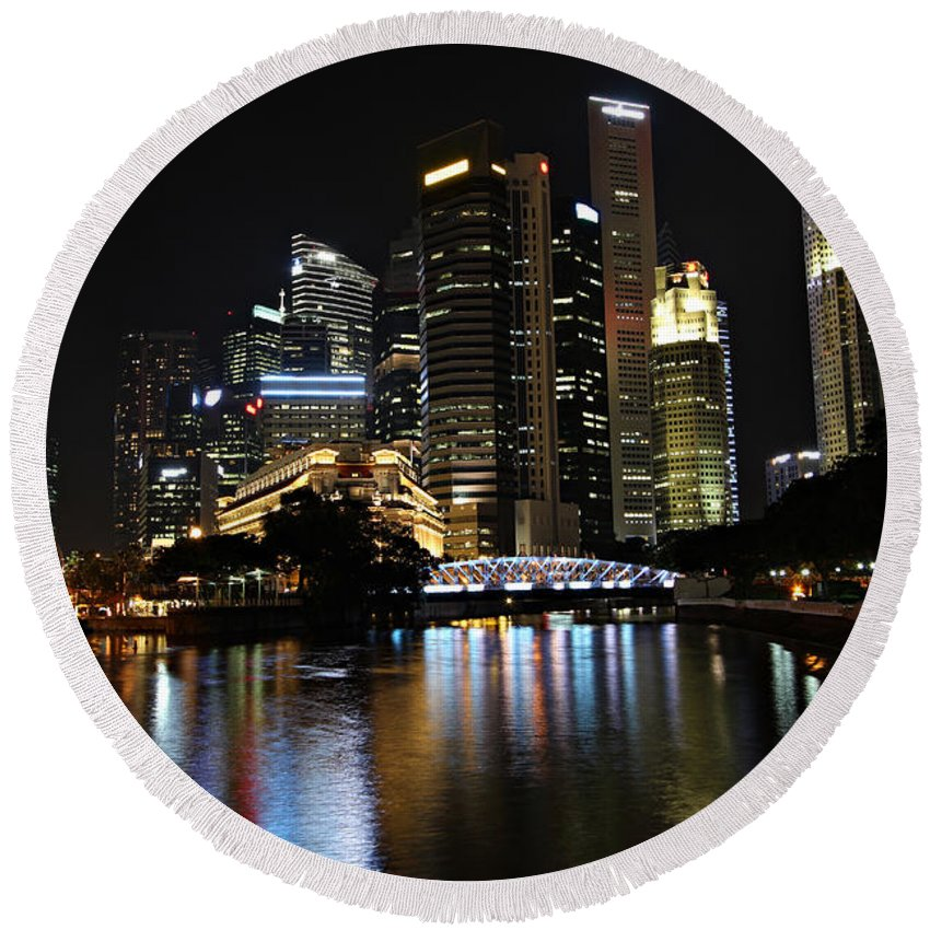 Architecture Round Beach Towel featuring the photograph Singapore by Paul Fell