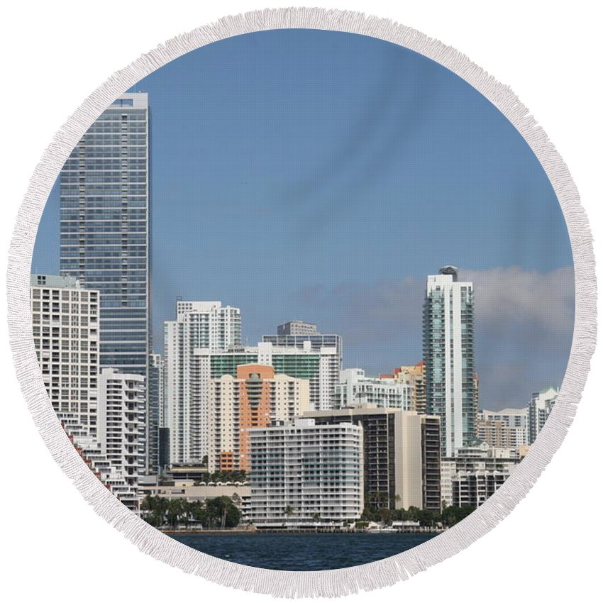 Miami Round Beach Towel featuring the photograph Skyline Miami by Christiane Schulze Art And Photography