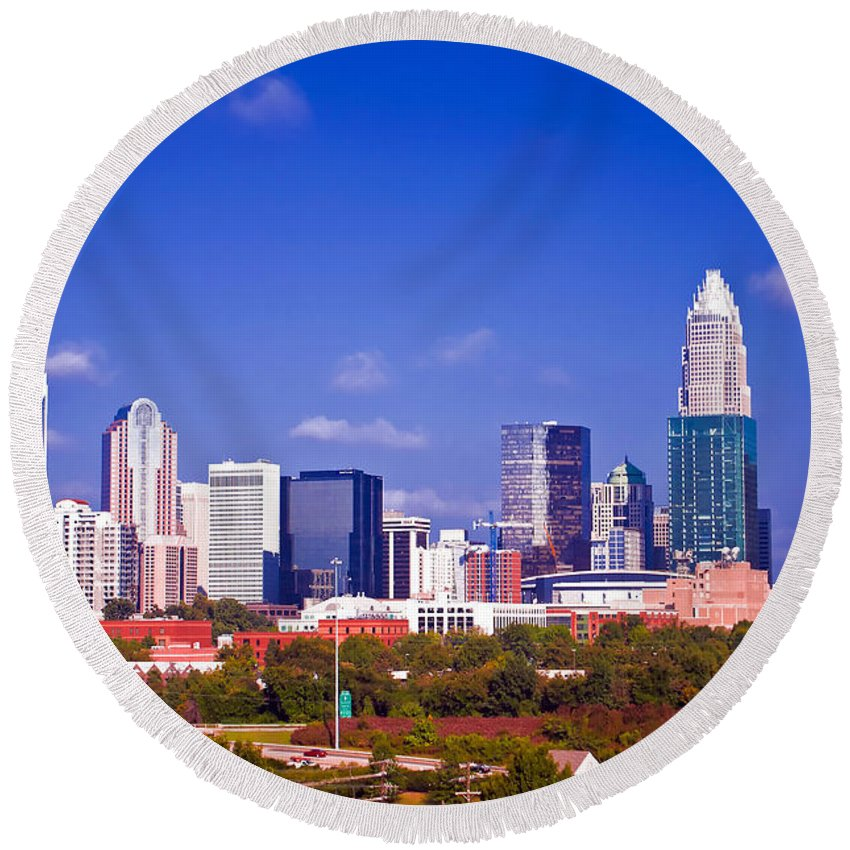 North Round Beach Towel featuring the photograph Skyline Of Uptown Charlotte North Carolina At Night by Alex Grichenko