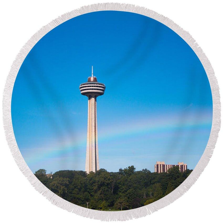Niagara Falls Round Beach Towel featuring the photograph Skylon Tower by Gaurav Singh