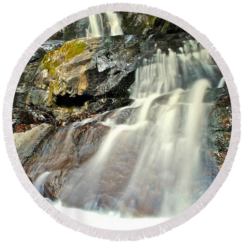 Smoky Mountains Round Beach Towel featuring the photograph Smoky Mountain Falls by Frozen in Time Fine Art Photography