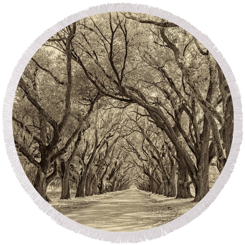 Evergreen Plantation Round Beach Towel featuring the photograph Southern Journey Sepia by Steve Harrington