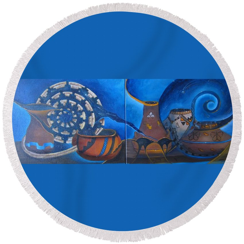 Curvismo Round Beach Towel featuring the painting Spirit Legends by Sherry Strong