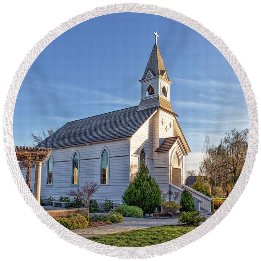 St. Mary's Chapel Round Beach Towel featuring the photograph St. Mary's Chapel by Jim Thompson