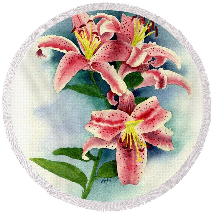 Watercolor Floral Round Beach Towel featuring the painting Stargazer Lilies by Brett Winn