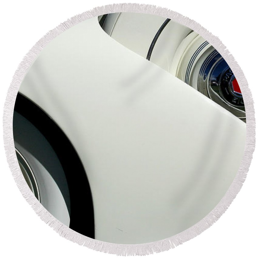 Automobile Round Beach Towel featuring the photograph Streamlined In White by Joe Kozlowski
