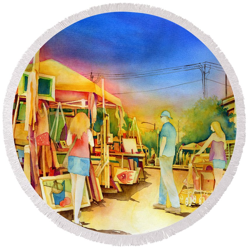 Downtown Bryan Round Beach Towel featuring the painting Street Art Fair by Hailey E Herrera