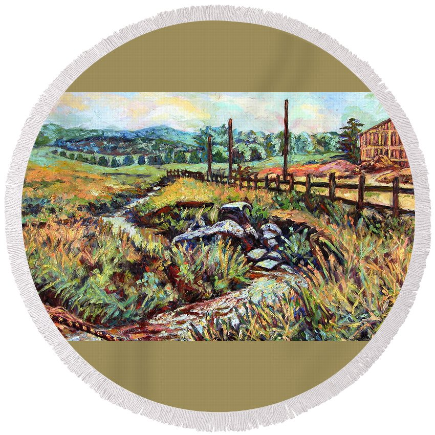 Landscape Paintings Round Beach Towel featuring the painting Stroubles Creek by Kendall Kessler