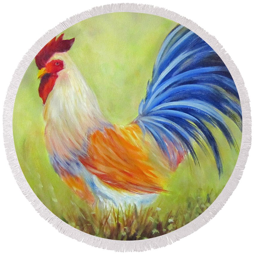 Rooster Round Beach Towel featuring the painting Strutting My Stuff, Rooster by Sandra Reeves