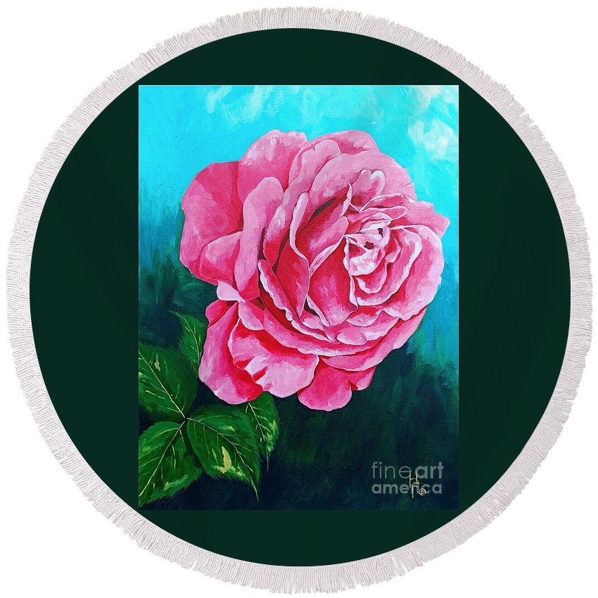 Red Rose Pink Rose Round Beach Towel featuring the painting Summer Rose by Herschel Fall