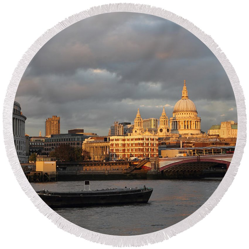 Sunset Over St Pauls Cathedral London Dusk River Thames Skyline City British Capital Boat Saint Paul's Round Beach Towel featuring the photograph Sunset Over St Pauls Cathedral London by Julia Gavin