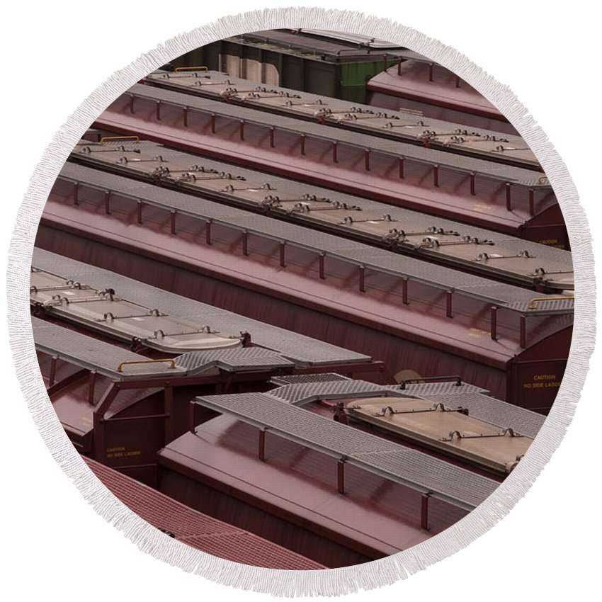 Boxcars Round Beach Towel featuring the photograph Switch Yard For Box Cars by Jim Corwin