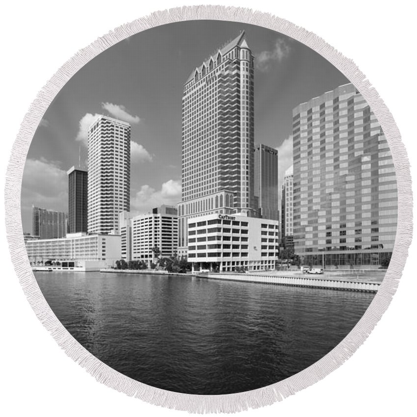 Black And White Round Beach Towel featuring the photograph Tampa Skyline From Hillsborough River by Bill Cobb