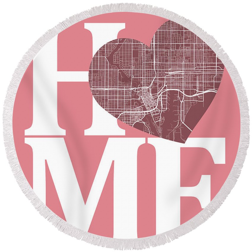 Road Map Round Beach Towel featuring the digital art Tampa Street Map Home Heart - Tampa Florida Road Map In A Heart by Jurq Studio