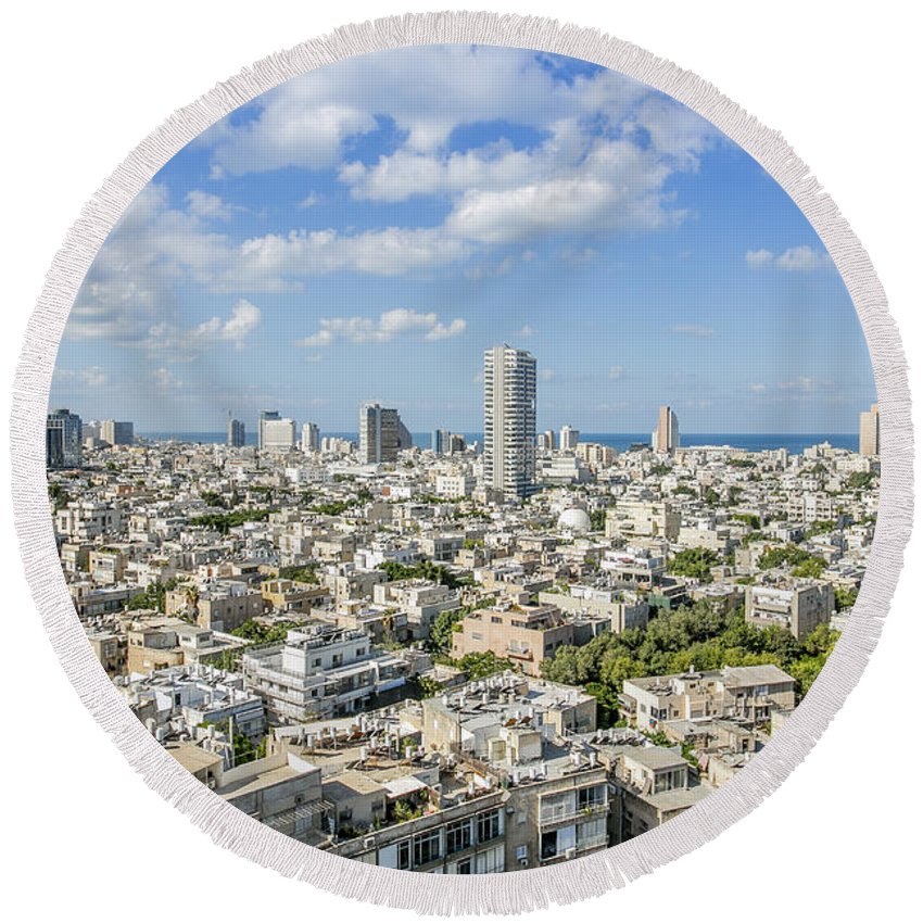 Elevated Round Beach Towel featuring the photograph Tel Aviv Israel Elevated View by Sv