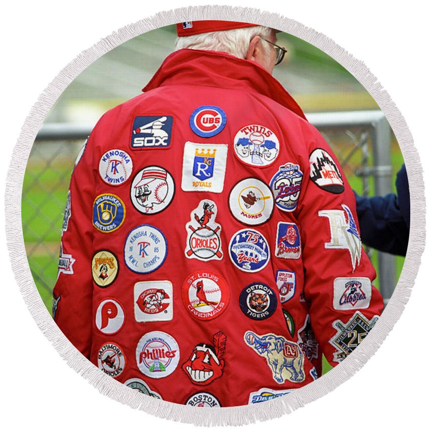 America Round Beach Towel featuring the photograph The Baseball Fan by Frank Romeo