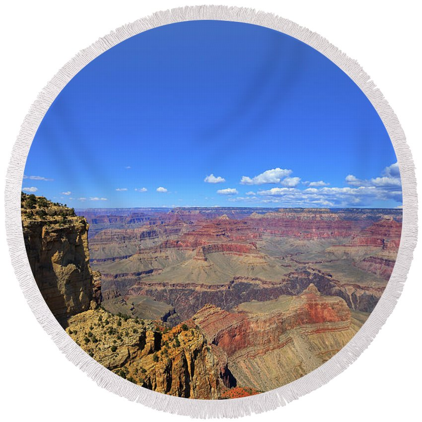 Hdr Round Beach Towel featuring the photograph The Grand Canyon by Angela Stanton