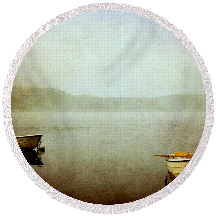 Boat Round Beach Towel featuring the photograph The Lake by Heike Hultsch