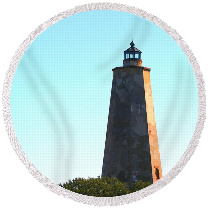 Lighthouse Round Beach Towel featuring the photograph The Lighthouse by Nadine Rippelmeyer