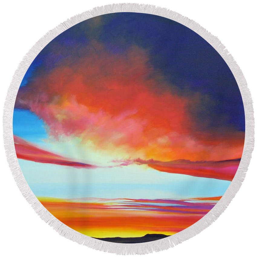 Landscape Round Beach Towel featuring the painting The Long Way Home by Hunter Jay