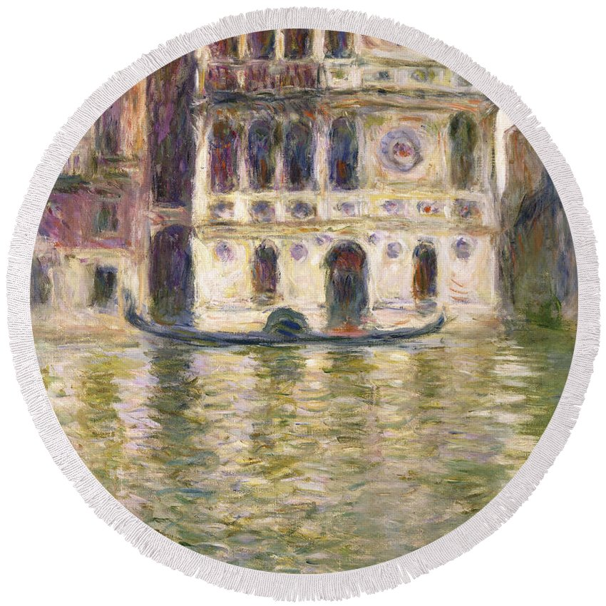 Monet Round Beach Towel featuring the painting The Palazzo Dario by Claude Monet