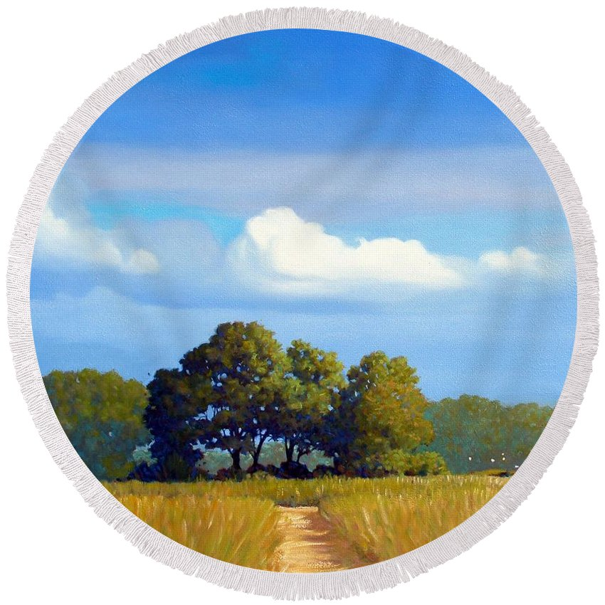 Landscape Round Beach Towel featuring the painting The Path by Kevin Lawrence Leveque