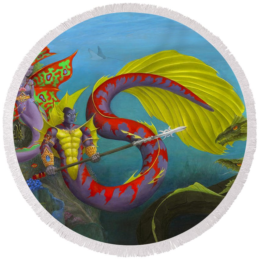 Mermaid Round Beach Towel featuring the painting The Threat by Melissa A Benson