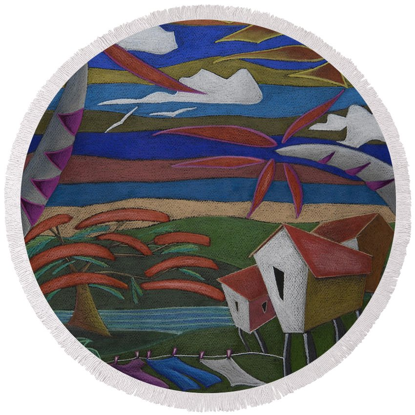 Whimsical Round Beach Towel featuring the painting Tiempos y Remembranzas by Oscar Ortiz